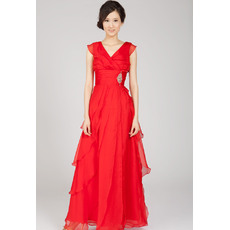 Excellent Sheath Chiffon Layered V-Neck Floor Length Evening Dresses