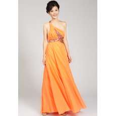 Formal A-line One Shoulder Chiffon Floor Length Evening Dresses