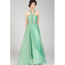 Pretty Halter Chiffon Floor Length A-Line Evening Dresses
