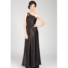 Nice Sexy One Shoulder Satin Floor Length Evening Dresses