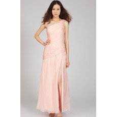 Sweety One Shoulder Chiffon Long Sheath Evening Dresses