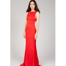 Discount Backless Bateau Sheath Floor Length Chiffon Evening Dresses