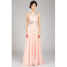 Fabulous Chiffon Sheath One Shoulder Floor Length Evening Dresses