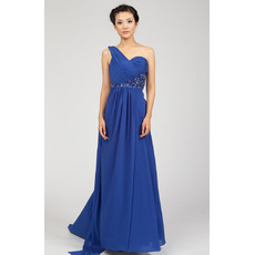 Gorgeous One Shoulder Chiffon Floor Length Empire Formal Evening Dresses