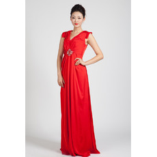 Foraml V-Neck Column/ Sheath Floor Length Chiffon Evening Dresses