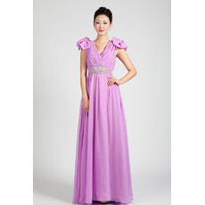 Classic Cap Sleeves Chiffon Floor Length A-Line Formal Evening Dresses
