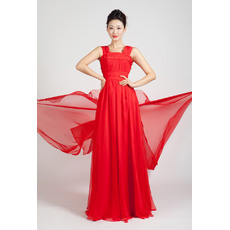 Simple Pleated Chiffon Full Length Formal Evening Dresses with Train
