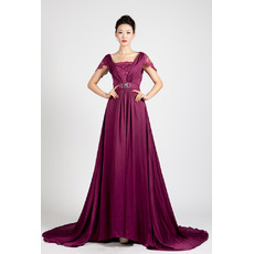 Vintage-inspired A-Line Long Train Pleated Evening Dresses with Cap Sleeves and Lace Top