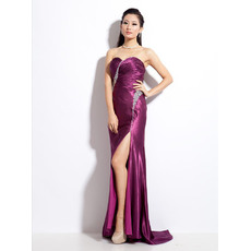 Sexy Satin Sheath Sweetheart Floor Length Evening Dresses