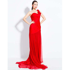 Elegant One Shoulder Chiffon Sheath Floor Length Evening Dresses