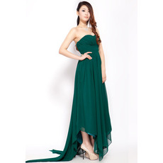 Unique Asymmetric Chiffon Empire Sweetheart Floor Length Evening Dresses