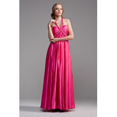 Beautiful Halter Empire Floor Length Satin Formal Evening Dresses