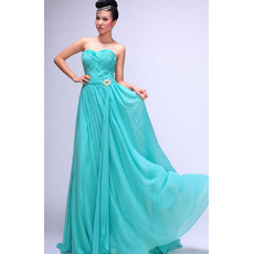Inexpensive Chiffon Sweetheart Floor Length A-Line Formal Evening Dresses with with Criss-cross Bodice
