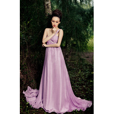 Attractive One Shoulder Chiffon Empire Floor Length Formal Evening Dresses