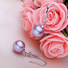 Beautiful White/ Pink/ Purple 8 - 8.5mm Freshwater Round Pearl Earring Set