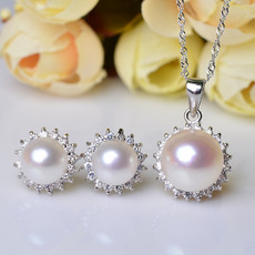 Elegant White Off-Round Natural Pearl Earring and Pendant Set
