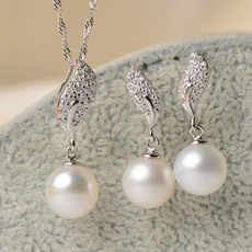 White 8-11mm Round Freshwater Natural Pearl Earring and Pendant Set