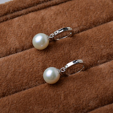 Affordable White 8.5-9mm Round Freshwater Natural Pearl Earring Set