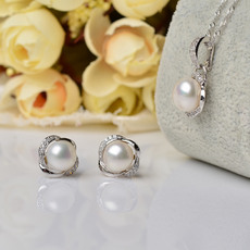 Pink/ Purple/ White Off-Round Freshwater Natural Pearl Earring Set