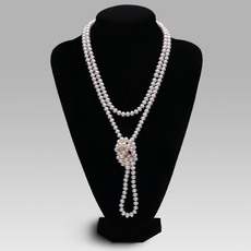 Elegant White 8 - 9mm Freshwater Off-Round Pearl Necklace
