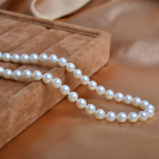 Inexpensive Classic White 6.5 - 7.5mm Freshwater Round Pearl Necklaces