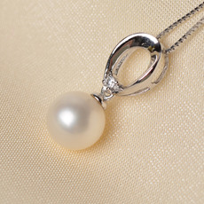 Elegant White 8 - 11mm Round Freshwater Natural Pearl Pendants