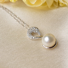 Elegant White Off-Round 10 - 11mm Freshwater Natural Pearl Pendants