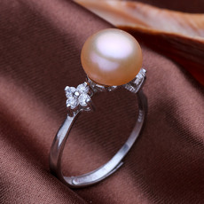 Beautiful Pink/ White/ Orange 9 - 10mm Freshwater Off-Round Pearl Ring