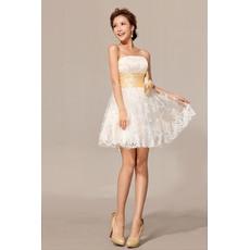 Custome Lace A-Line Strapless Short/ Mini Beach Wedding Dresses