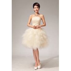 Chic Ball Gown Bubble Skirt Strapless Satin Organza Short/ Mini Beach Wedding Dresses