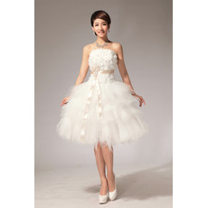Morden Ball Gown Bubble Skirt Strapless Satin Organza Short Dresses for Summer Beach Wedding