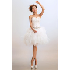 Amazing Bubble Skirt Sweetheart Satin Organza Short Beach Wedding Dresses