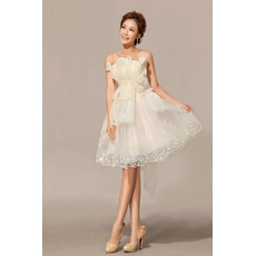 Pretty A-Line Strapless Organza Satin Knee Length Beach Wedding Dresses
