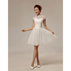 Custom A-Line Lace Mandarin Collar Cap Sleeves Short/ Mini Beach Wedding Dresses