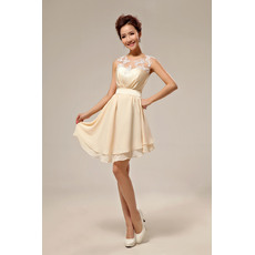 Affordble Asymmetric Chiffon Organza A-Line Short Gorgeous Beach Wedding Dresses