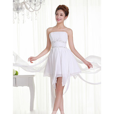 Simple Chiffon A-Line Strapless Short Beach Wedding Dresses