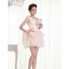 Custom Sexy Sheath/ Column One Shoulder Satin Column Short Beach Wedding Dresses