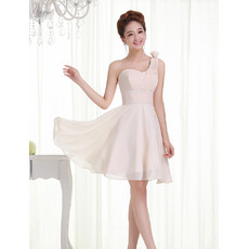 Attractive One Shoulder Chiffon A-Line Short Dresses for Summer Beach Wedding