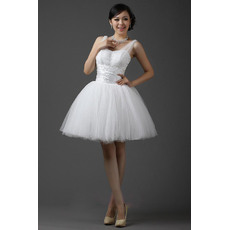 Beautiful Straps Ball Gown Satin Organza Short/ Mini Reception Wedding Dresses