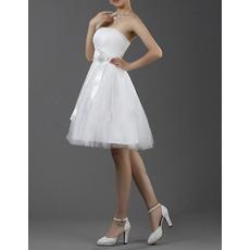 Lovely A-Line Strapless Satin Tulle Short/ Mini Reception Wedding Dresses