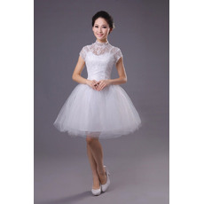 Popular Ball Gown Mandarin Collar Short Sleeves Satin Lace Organza Short Reception Wedding Dresses