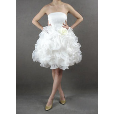 Romantic Strapless Short Organza Reception Wedding Dresses with Ruffles Galore Skirt