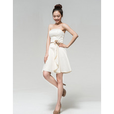 Pretty A-Line Strapless Satin Short Beach Wedding Dresses