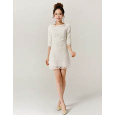 Classy Lace Sleeved Column/ Sheath Short Beach Wedding Dresses