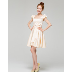 Trendy A-Line Bubble Sleeves Satin Square Short Beach Wedding Dresses