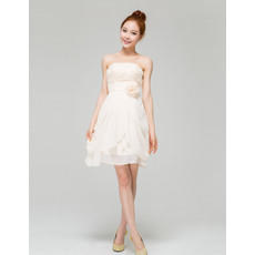 Custom Chiffon Strapless A-Line Short Beach Wedding Dresses