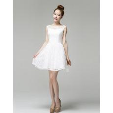 Attractove Lace A-Line Bateau Short/ Mini Beach Wedding Dresses