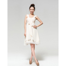 Informal Chiffon Empire Straps Short Dresses for Summer Beach Wedding
