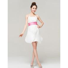Hot Organza Strapless A-Line Short Beach Wedding Dresses