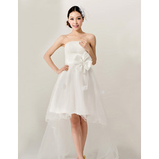 Newest High-Low Satin Organza Strapless A-Line Dresses for Summer Beach Wedding